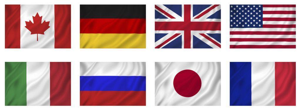 Bandeiras dos países membros do G8. Ilustração: Getty Images