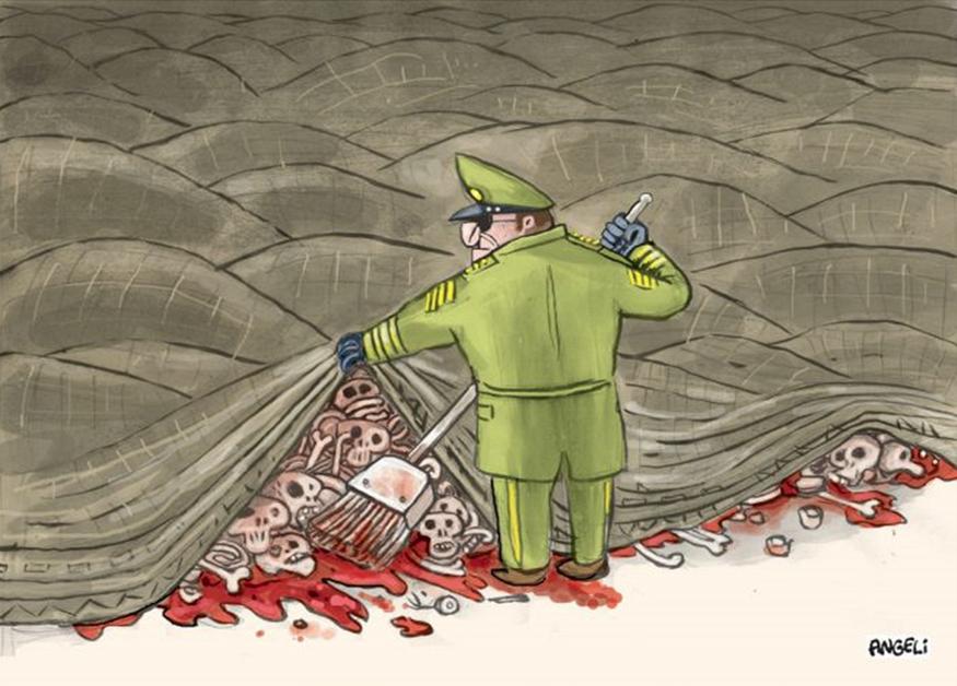 Charge satirizando os mortos ocultos pelo regime militar. Ilustração: Angeli