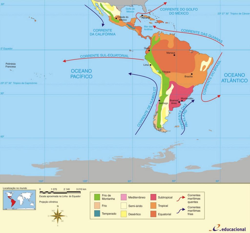Mapa climático da América Latina. Ilustração: Reprodução.