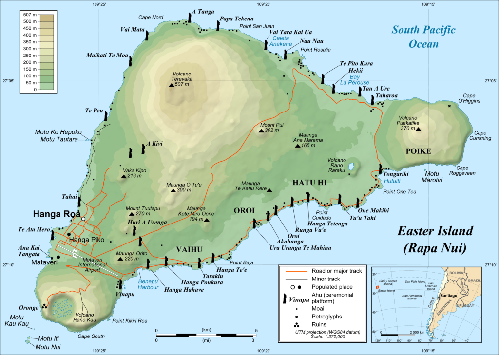 Mapa da Ilha de Páscoa. Ilustração: Reprodução