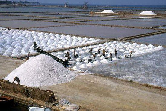 Imagem de uma salina, local onde se emprega a técnica de evaporação da água do mar para retirar o sal presente em solução aquosa. Foto: Reprodução