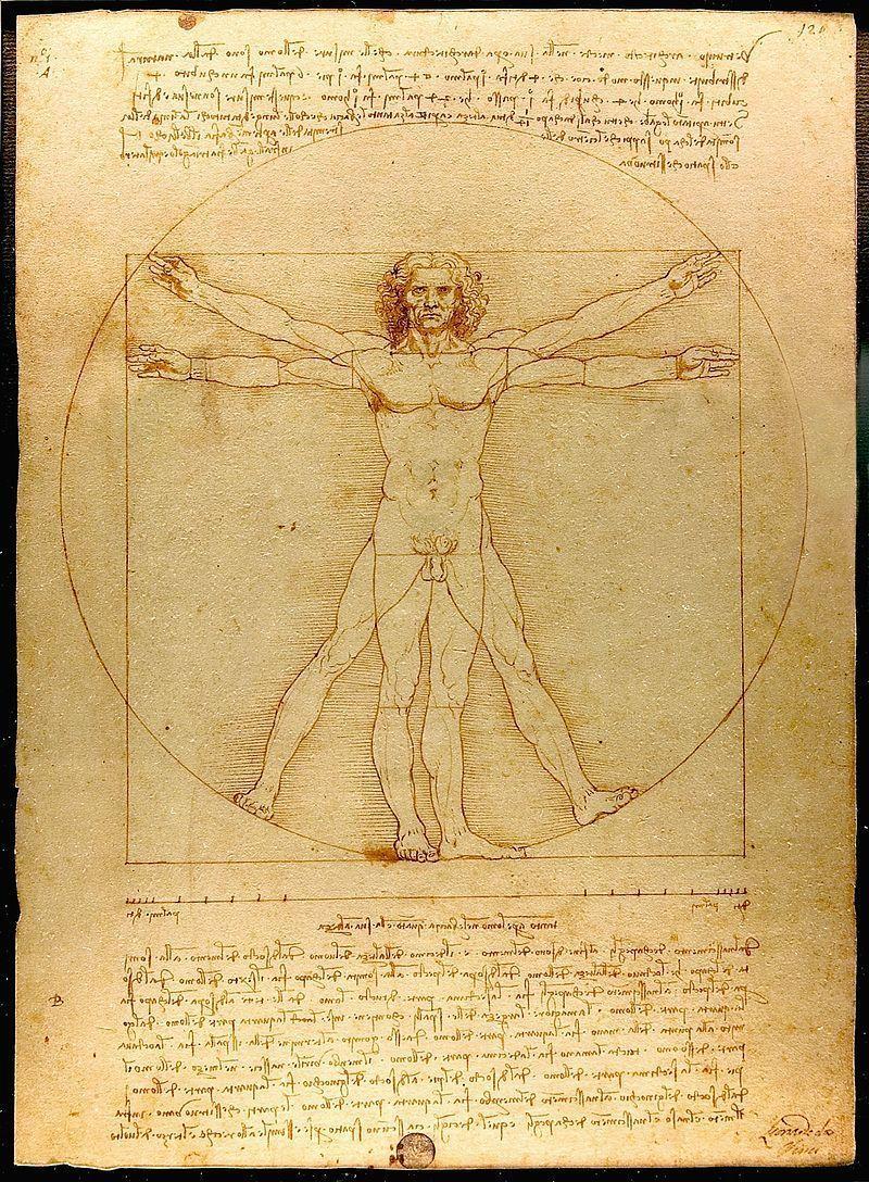 O homem vitruviano de Leonardo da Vinci sintetiza o ideário renascentista: humanista e clássico. Imagem: Wikimedia Commons.