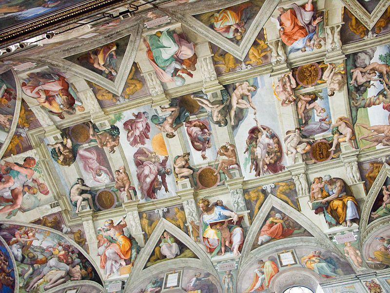 Teto da Capela Sistina, no Vaticano. Imagem: Wikimedia Commons.