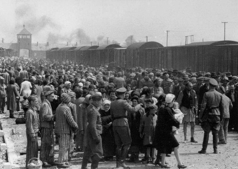 Judeus húngaros em processo de seleção nazista para as câmaras de gás. Imagem: Wikimedia Commons.