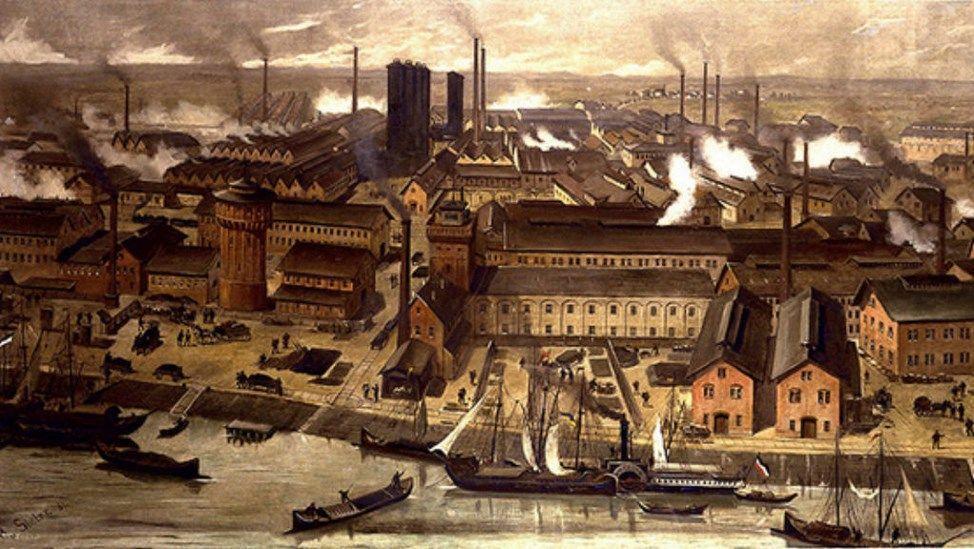 Instalações da química BASF, em 1881, na Alemanha. Imagem: Wikimedia Commons.