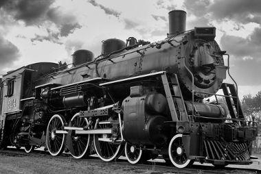Locomotiva movida a vapor. Imagem: Wikimedia Commons.