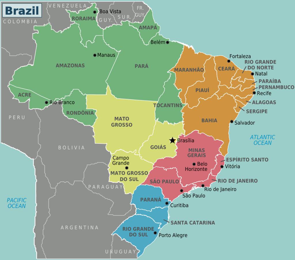 Mapa político do Brasil: divisão por estados. Imagem: Wikimedia commons.