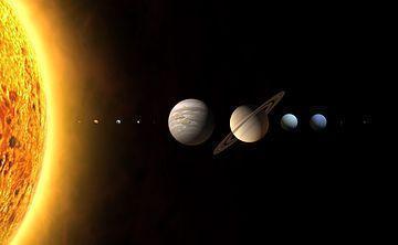 Sol e planetas do sistema solar. Imagem: Wikimedia Commons.