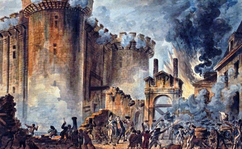 Tomada da Bastilha, por Jean-Pierre Louis Laurent Houel (1789).