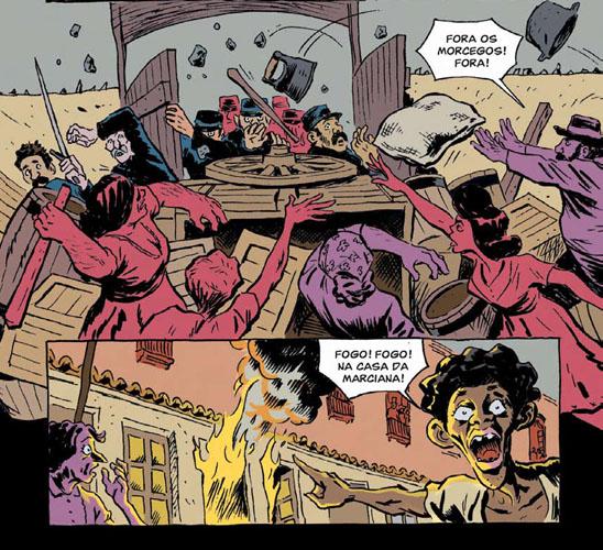 Parte de O Cortiço em história em quadrinhos.