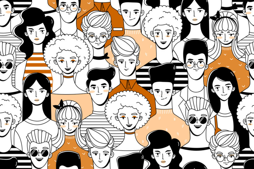 Diferentes tipos de pessoas ilustradas