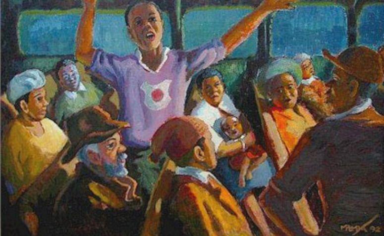Pintura de George Pemba sobre Rosa Parks