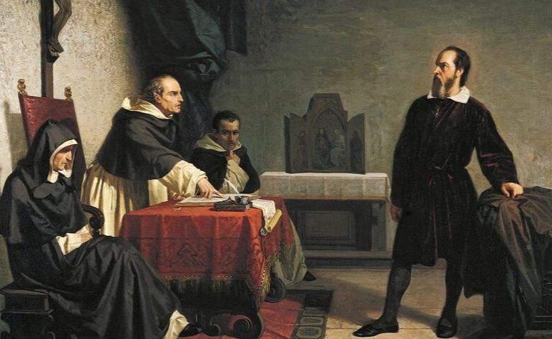 Pintura representando Galileu Galilei sendo coagido pela Igreja Católica