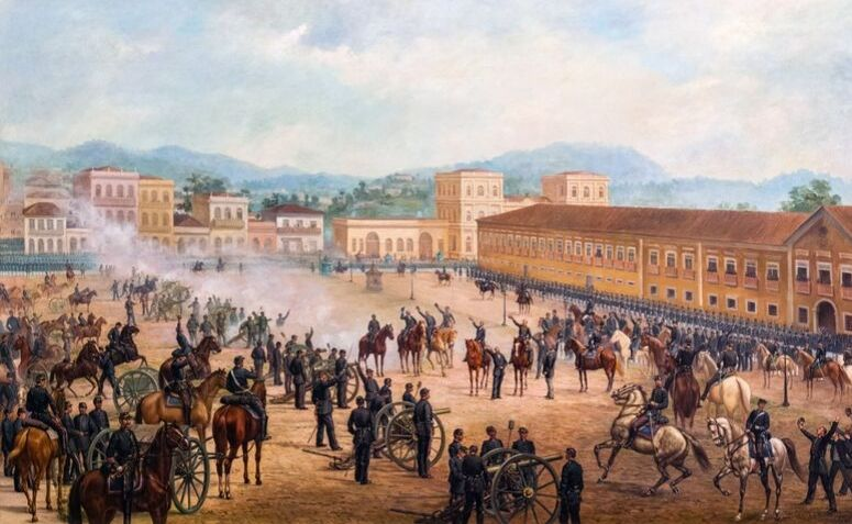"""Pintura do momento em que se teria """"proclamado"""" a República"""