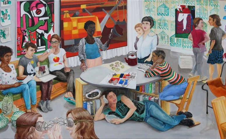 Pintura representando diferentes mulheres reunidas, acionando símbolos do movimento feminista