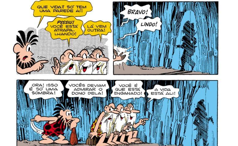 Quadrinho ilustrando o Mito da Caverna